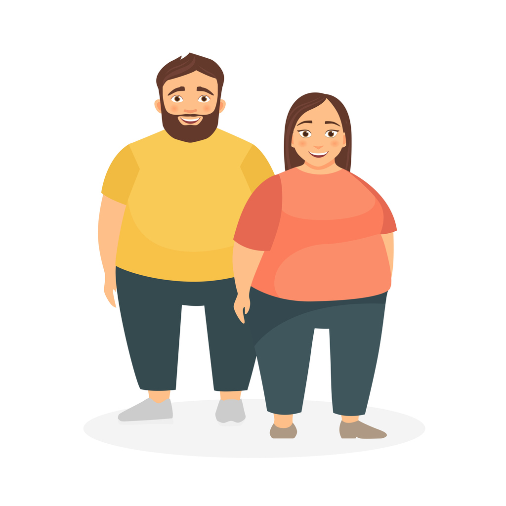A man and a woman with obesity.